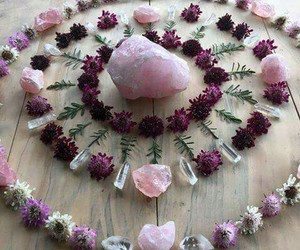 crystal, flowers, and pink image