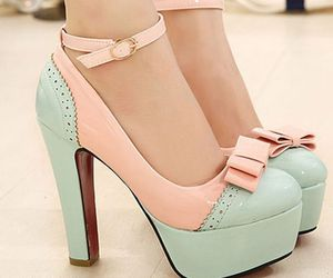 light blue, pink, and strap high heels image