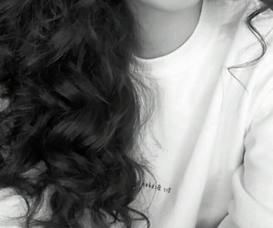 black and white, curly hair, and lips image