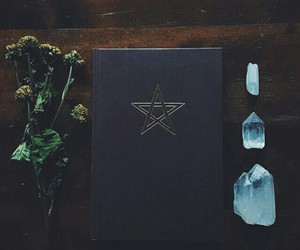 crystal, book, and wicca image