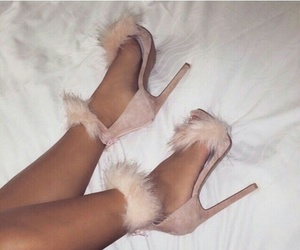 bed, heels, and shoes image