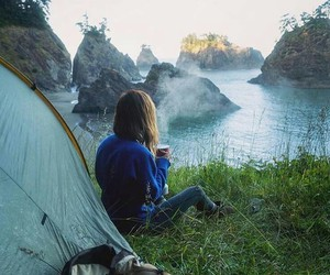 travel, girl, and camping image