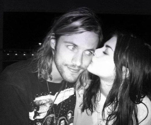frances bean cobain, kiss, and black and white image
