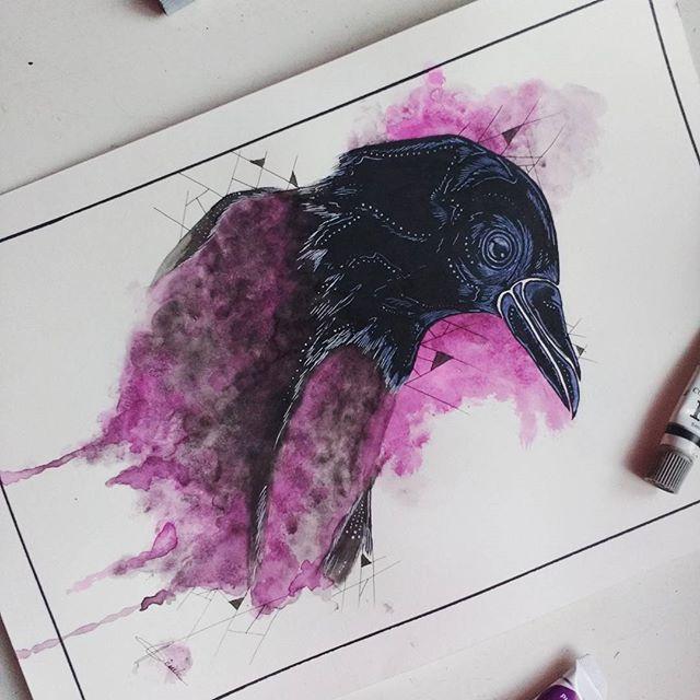Ilustracao Ilustracion Illustration Raven Bird Artwork Art