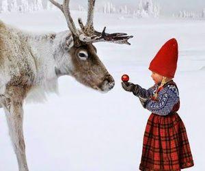 snow, christmas, and reindeer image