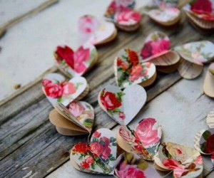 heart, flowers, and garland image