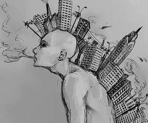 art, city, and smoke image