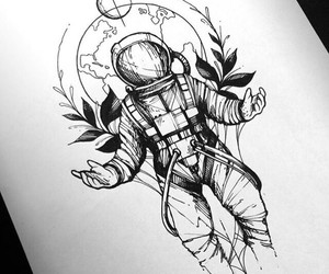 art, astronaut, and black and white image