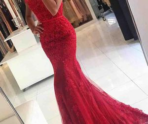 dress, prom dress, and red image