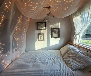 bed, fairy lights, and girl image