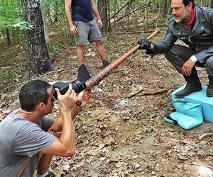 behind the scenes, negan, and the walking dead image