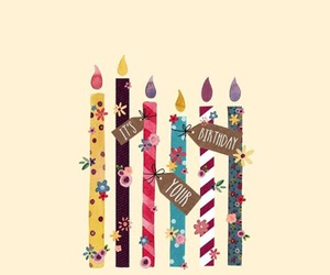 birthday cake, birthday candles, and colors image