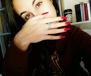 in love, red, and red nails image