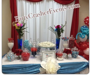 backdrop, party, and candy buffet image