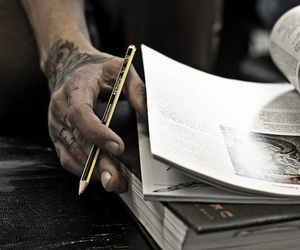 tattoo, book, and pencil image