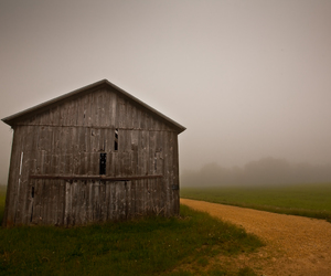 barn, country, and fog image