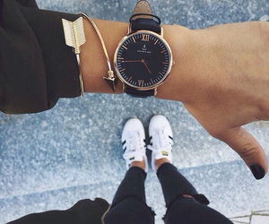 accessories, black and white, and wristwatch image
