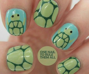 nails, turtle, and nail art image