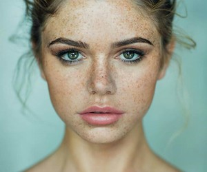 eyes, freckles, and girl image