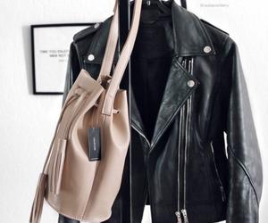 black, jacket, and bag image