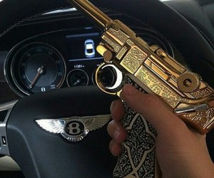 gun, gold, and luxury image