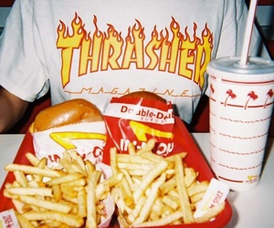 fashion, food, and thrasher image