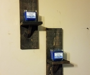 floating shelves, candle holders, and decorative shelves image