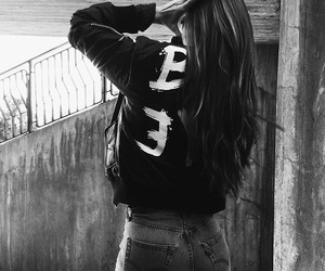 black and white, brunette, and fashion image