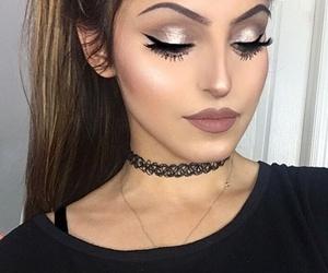 choker, lipstick, and eyebrow image