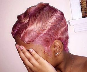 hair, pink, and finger waves image
