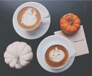 pumpkin, coffee, and Halloween image