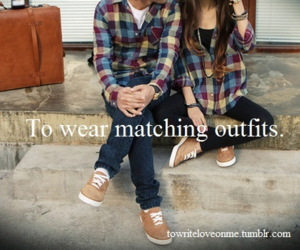 outfit, couple, and plaid image