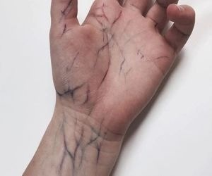 afraid, hand, and veins image