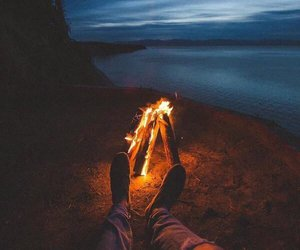 fire, night, and relax image