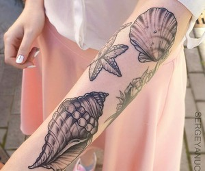 pink, seashell, and tatto image