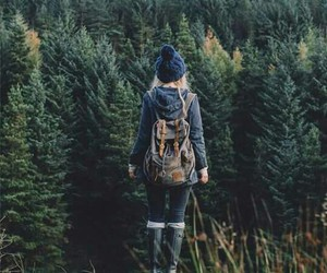 girl, forest, and travel image
