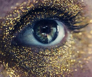 gold, eye, and glitter image