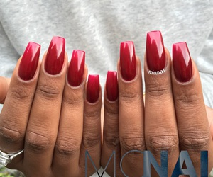 nails, gelnails, and rednails image