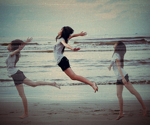 arms, jump, and beach image