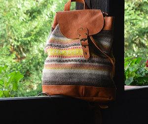 backpack, leather backpack, and boho image