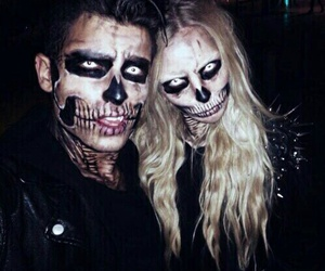 Halloween, couple, and skull image