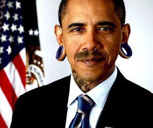 obama, tattoo, and piercing image