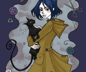 coraline, art, and black cat image