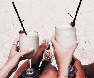 drink, beach, and food image