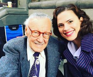 stan lee, hayley atwell, and peggy carter image