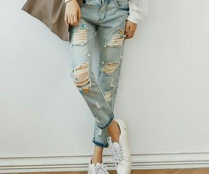 bohemian, ripped jeans, and boho image