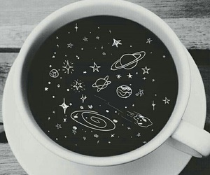 coffee, space, and black and white image