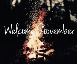 cold, autumn, and bonfire image