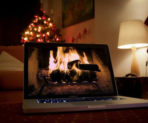 christmas, fire, and laptop image