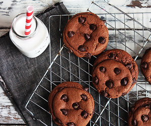 chocolate, chocolate chip, and chocolate chip cookies image